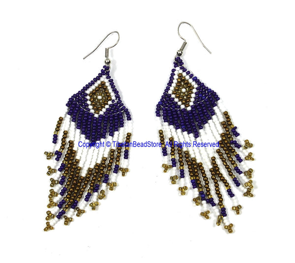 Ethnic Beaded Fringe Tassel Earrings with Multi-colored Beads - Beadwork Earrings - Handmade Jewelry - E22