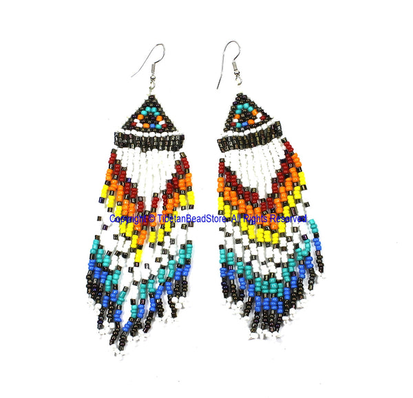 Ethnic Beaded Fringe Tassel Earrings with Multi-colored Beads - Beadwork Earrings - Handmade Jewelry - E24