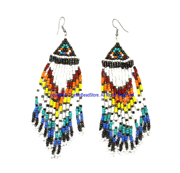 Ethnic Beaded Fringe Tassel Earrings with Multi-colored Beads - Beadwork Earrings - Handmade Jewelry - E26