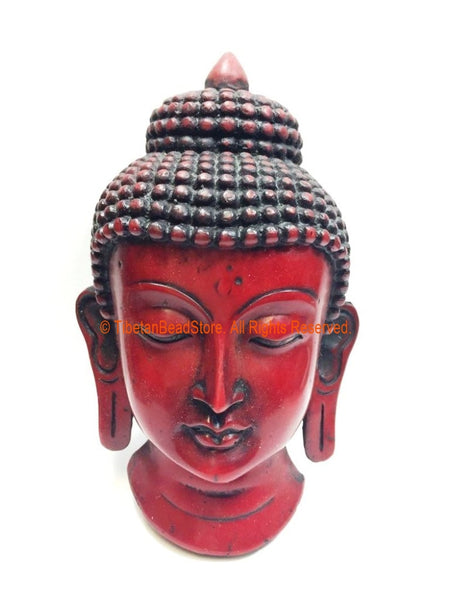 "Buddha Head - 6.5"" Handmade Buddha Head Wall Hanging - Buddha Mask - Meditation Supplies - HC153"