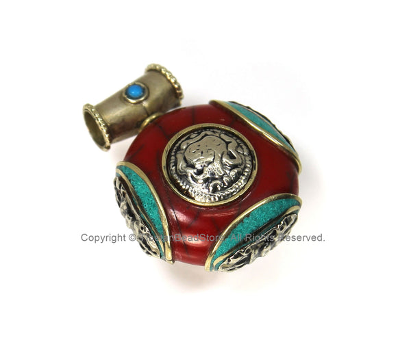 Tibetan Reversible Round Red Crackle Resin Pendant with Turquoise Inlays, Tibetan Silver Repousse Auspicious Conch & Vajra Details - WM4110B