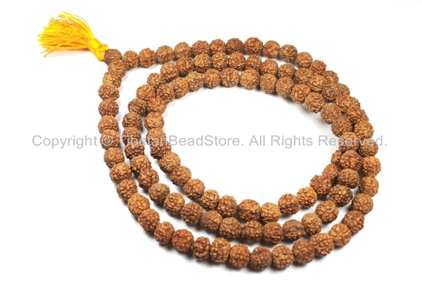 108 beads - 9mm-10mm Natural Rudraksha Seed Beads - Nepalese Tibetan Rudraksha Seed Prayer Mala Beads - Mala Making Supplies - PB81Y