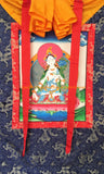 White Tara Sitatara Tibetan Thangka with High Quality Silk Brocade Framing - TH100