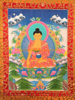 Buddha Sakyamuni Tibetan Thangka with High Quality Silk Brocade Framing - TH89