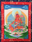 Red Tara Tibetan Thangka with High Quality Silk Brocade Framing - TH94
