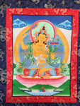 Manjushri Buddha Tibetan Thangka with High Quality Silk Brocade Framing - TH97