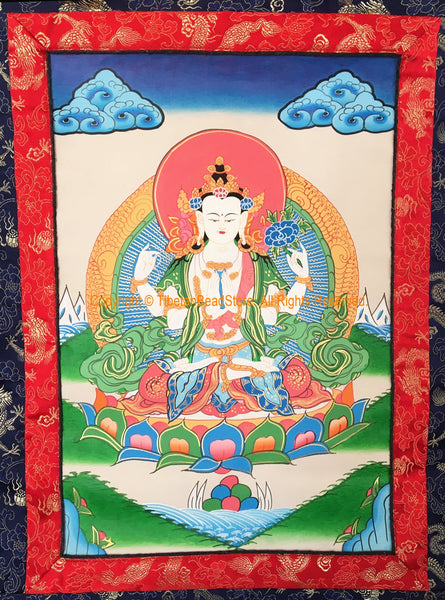 Chenrezig Buddha Avalokiteshvara Tibetan Thangka with High Quality Silk Brocade Framing - TH99