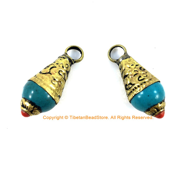 2 PENDANTS Small Ethnic Tibetan Turquoise Resin Charm Pendants with Brass Caps and Red Copal Accent - Turquoise Charm Amulet Pendant - WM4008-2