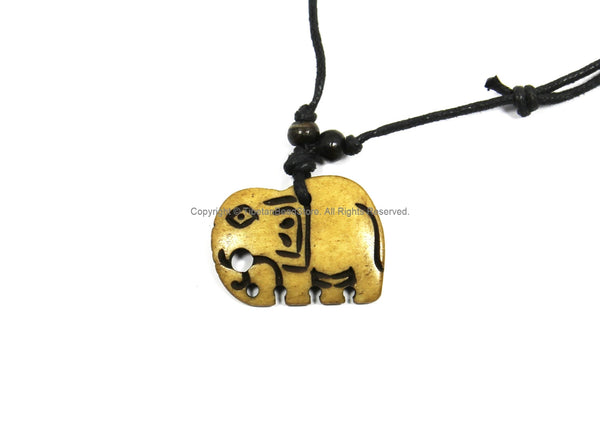 Elephant Design Carved Bone Pendant on Adjustable Cord - Unisex Boho Jewelry - Recycled Bone Ethnic Tribal Handmade Jewelry - WM7874