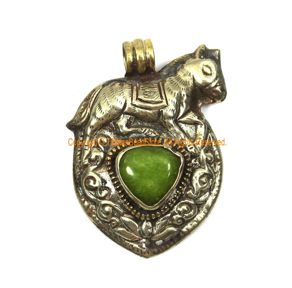 Ethnic Tibetan Silver Repousse Horse Pendant with Lime Green Jade Gemstone Inlay and Snake on Reverse Side - TibetanBeadStore Jewelry - WM7993