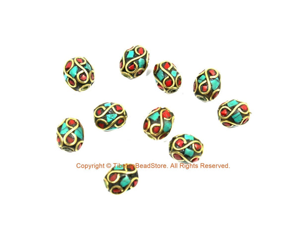 10 BEADS Turquoise, Coral, Brass Inlaid Beads - Tibetan Beads Inlaid Beads Tribal Beads - Handmade Beads - TibetanBeadStore - B3454-10