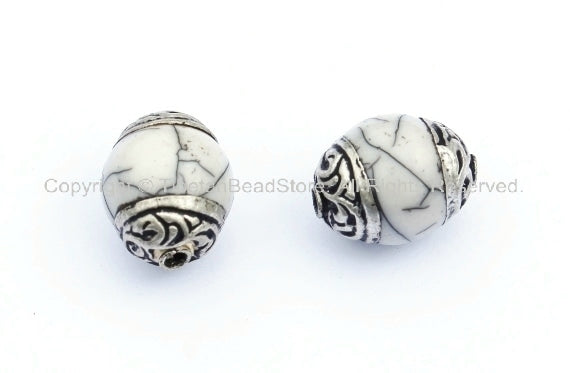 2 beads - Tibetan White Crackle Resin Copal Beads with Tibetan Silver Caps - Handmade Ethnic Tibetan Beads - B901-2