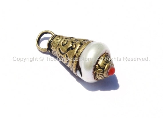 Tibetan Pearl Charm Pendant with Brass Caps & Coral Accent - WM2037-1