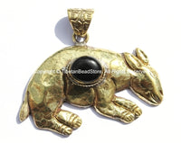 Large Tibetan Brass Animal Pendant with Black Onyx Agate Inlay - Brass Repousse Animal - Tibetan Jewelry - Tibetan Pendant - WM5392