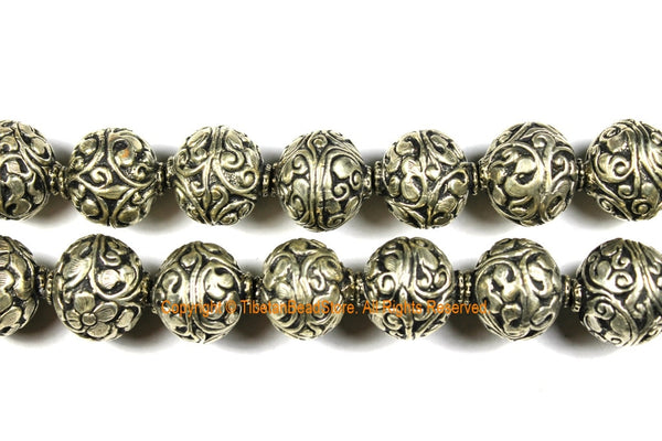 10 BEADS - Tibetan Repousse Floral Silver-plated Metal Round Focal Beads - 22mm x 22mm Unique Ethnic Filigree Carved Metal Beads - B3119-10