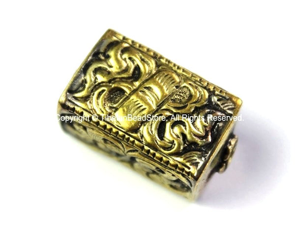 Repousse Carved Brass Rectangular Box Shaped Tibetan Bead with Scroll & Floral Details - 1 Bead - Handmade Tibetan Pendant Beads - B2441
