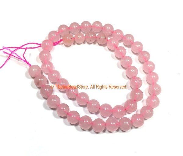 8mm Rose Quartz Round Beads - 1 STRAND Round Beads - 15 Inches 45 Plus Beads Gemstone Beads Strand - Jewelry Making Bead Supplies - GM93