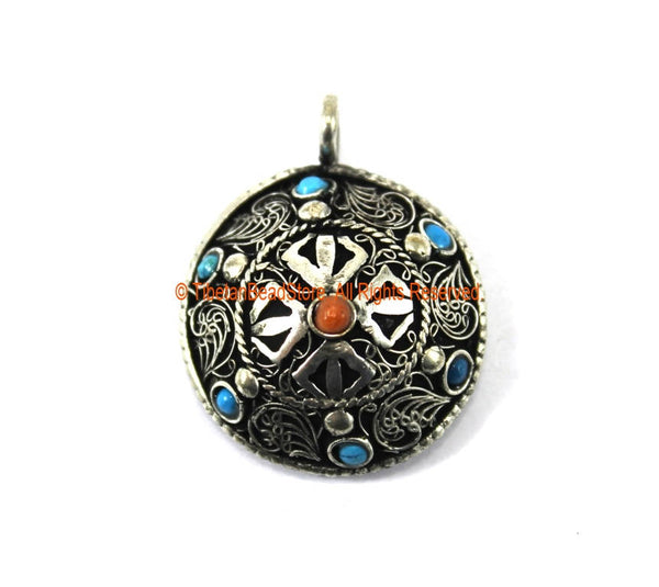Ethnic Nepal Tibetan Double Vajra Pendant with Filigree Details, Colored Bead Inlays - Jewelry Supplies Pendant - TibetanBeadStore - WM7274
