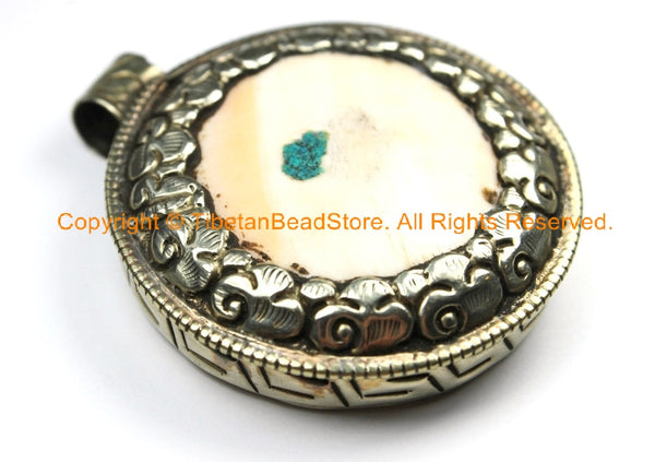 Ethnic Tibetan Naga Conch Shell & Tibetan Silver Pendant with Repousse Brass Lotus Floral Details Back - Tibetan Tribal Jewelry- WM7167