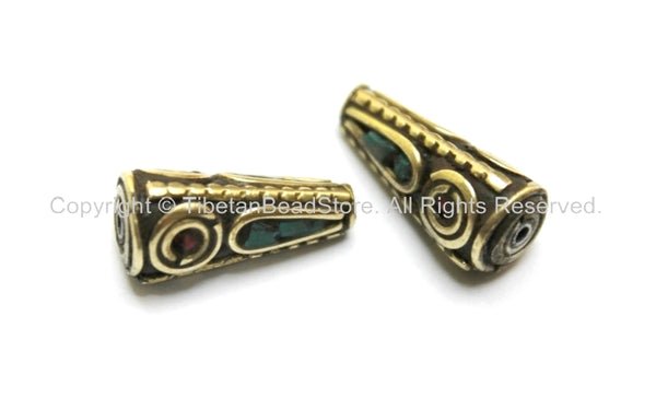 2 BEADS - Tibetan Cone Beads with Brass, Turquoise & Coral Inlays - Ethnic Tribal Tibetan Brass Inlay Beads - B1610-2