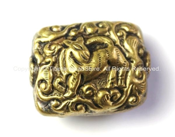 Reversible Repousse Hand Carved Box Square Shaped Brass Tibetan Bead with Animal Details - 1 BEAD - Tibetan Beads -B2418-1