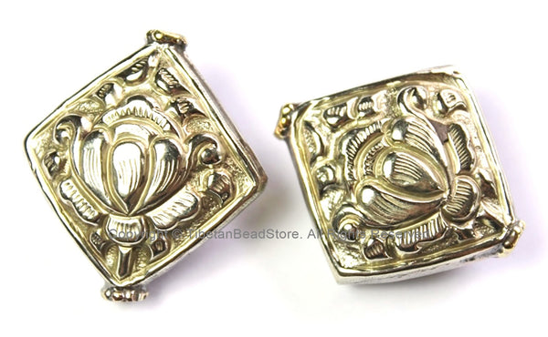 2 BEADS - Tibetan Lotus Beads - Antiqued Silver Finish Auspicious Lotus Tibetan Beads Kite Square Shape Ethnic Tribal Beads - B2458-2