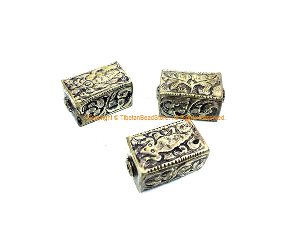 1 BEAD - Repousse Carved Tibetan Silver Rectangular Box Shaped Tibetan Bead with Floral Details - Tibetan Metal Beads - B3080F-1