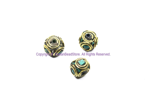 3 BEADS Ethnic Nepal Tibetan Turquoise & Brass Inlay Beads - Handmade Nepal Tibetan Box Shaped Beads - TibetanBeadStore - B3456-3