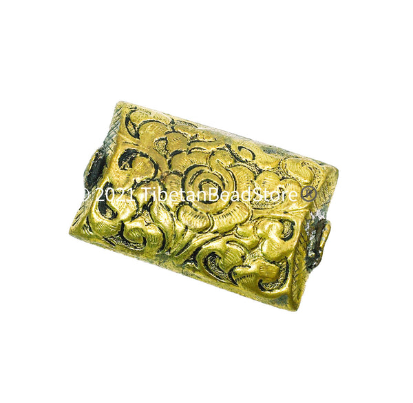 1 BEAD - LARGE Repousse Carved Flat Rectangular Brass Tibetan Bead with Lotus Floral Details - Unique Ethnic Handmade Tibetan Beads - B3513-1