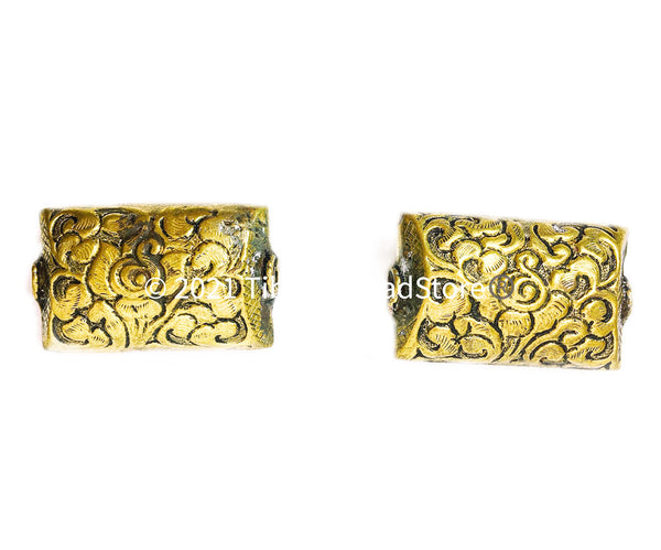2 BEADS - LARGE Repousse Carved Flat Rectangular Brass Tibetan Beads with Lotus Floral Details - Unique Ethnic Handmade Tibetan Beads - B3513-2
