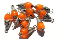 Tibetan Amber Resin Pendant with Tibetan Silver Caps & Red Coral Accent - Handmade Ethnic Nepal Tibetan Jewelry - WM3000