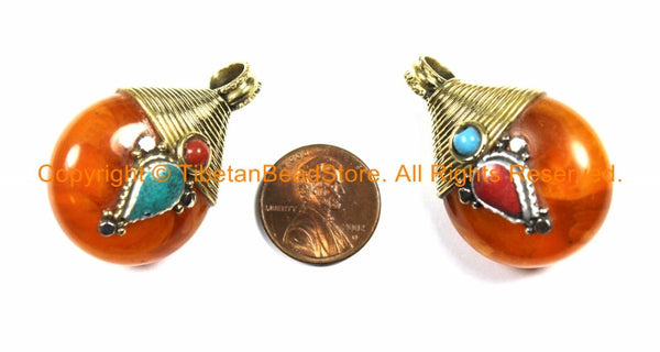 2 PENDANTS Reversible Ethnic Tibetan Amber Color Resin Pendants with Brass Wire Cap, White Metal, Turquoise & Coral Inlays - WM3749B-2