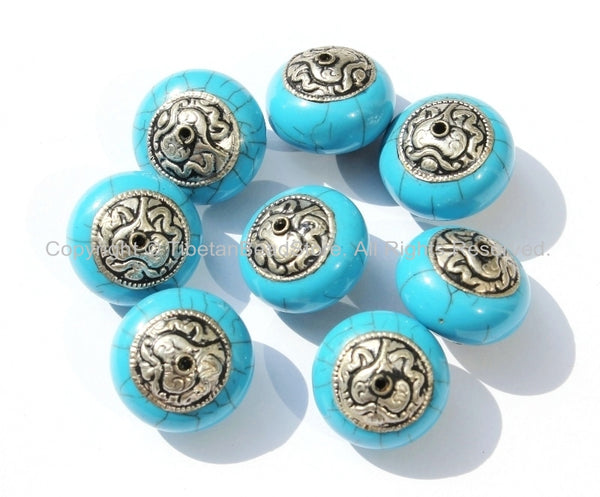 2 Beads - Tibetan Blue Crackle Resin Round Bead with Tibetan Silver Auspicious Conch Caps - Ethnic Beads - B2725-2