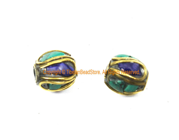 2 BEADS Tibetan Lapis, Turquoise, Brass Inlay Beads - Tibetan Beads Tribal Beads - 9mm x 10mm Handmade Tube Inlay Beads - B3510-2