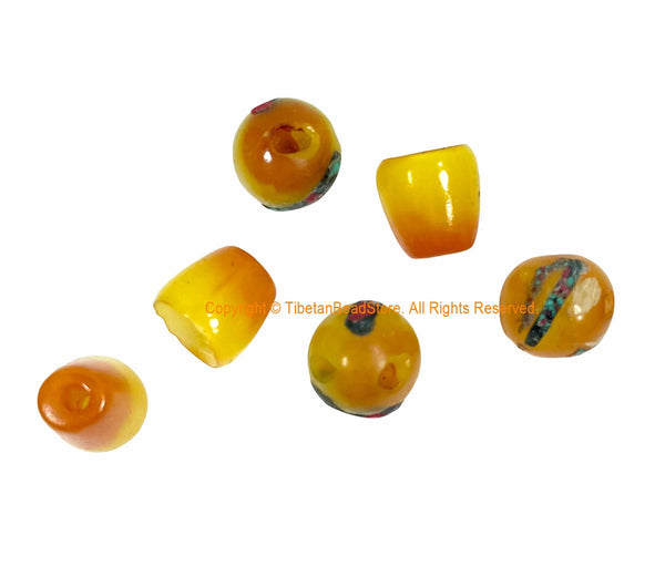 3 SETS Tibetan Amber Color Resin Guru Bead Set with Inlays - Tibetan Guru Beads - Inlaid Resin Guru Beads - Mala Supplies - GB53C-3