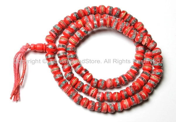 8mm Red Bone Tibetan Prayer Beads - Red Bone Mala Prayer Beads with Brass, Copper, Turquoise & Coral Inlays - PB13S