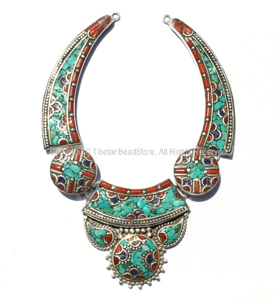 Ethnic Tibetan Necklace Bead Set with Lapis, Turquoise & Coral Inlays - DIY Necklace - DYI Fine Quality Tibetan Jewelry - N145