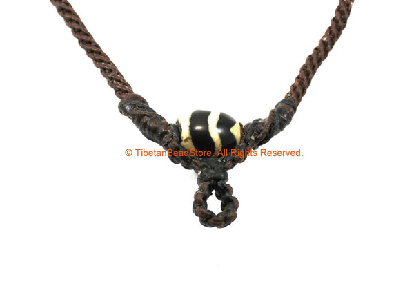 "Dark Brown Woven Cord Necklace with Dzi Agate 4mm Cord 21"" Necklace - Handmade Boho Surfer Jewelry Cord Choker - © TibetanBeadStore - BK37"