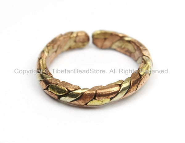 Adjustable Ring Mixed Metals Braided Ring Copper Brass Ring Unisex Ring Boho Ring Nepal Tibet Ring Tibetan Jewelry by TibetanBeadStore- R239