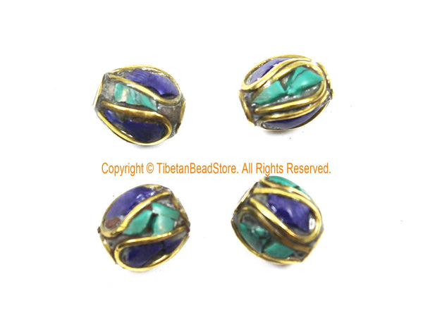 4 BEADS Tibetan Lapis, Turquoise, Brass Inlay Beads - Tibetan Beads Tribal Beads - 9mm x 10mm Handmade Tube Inlay Beads - B3510-4
