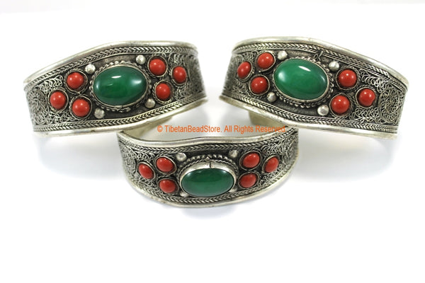 BOHO ETHNIC TRIBAL GREEN ONYX & CORAL INLAY FILIGREE TIBETAN CUFF BRACELET - C208