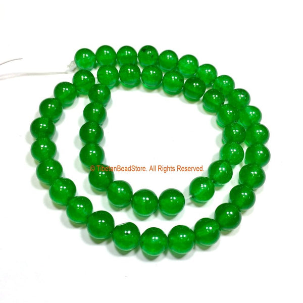 8mm Green Jade Beads - 1 STRAND - Round Green Jade Beads - 15 Inches - Approx 52 Beads Per Strand - Jewelry Bead Supplies - GM97