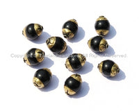 2 BEADS - Tibetan Small Black Onyx Beads with Brass Caps - Small Ethnic Tibetan Beads - Brass Cap Black Onyx - B2568-2