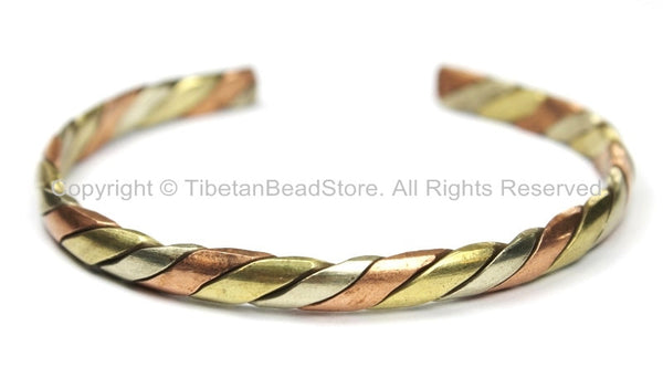 Tibetan Healing 3 Metals Braided Adjustable Bracelet Cuff - 6mm - Unisex Cuff- Tibetan Jewelry by TibetanBeadStore- C114B