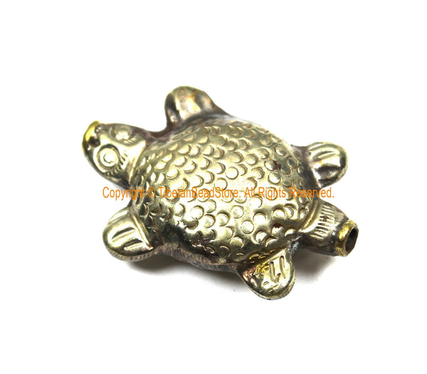 LARGE Tibetan Metal Turtle Bead - 1 BEAD - Unique Ethnic Tribal Repousse Tibetan Silver Focal Animal Beads - B3512-1