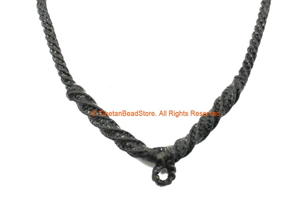 Black Handwoven Cord Necklace 4mm Cord Necklace by TibetanBeadStore - Unisex Boho Surfer Jewelry Cord Choker - © TibetanBeadStore - BK40
