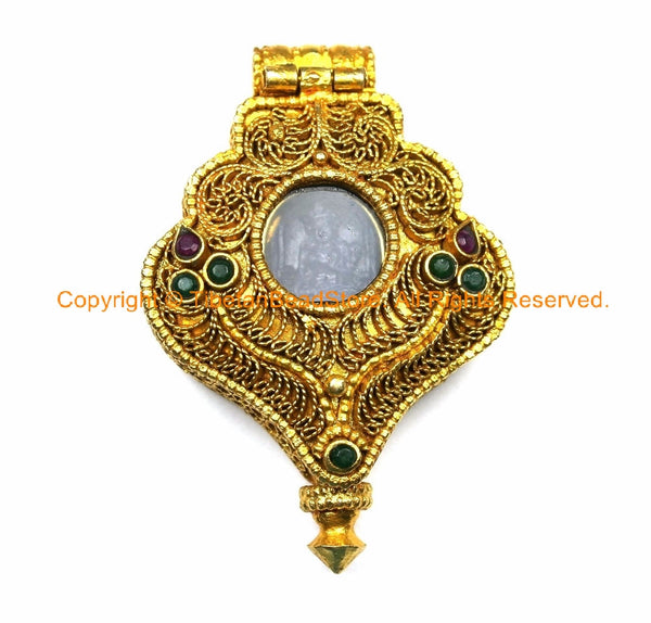 24 karat gold plated tibetan buddha ghau prayer box pendant with 24 karat gold plated tibetan buddha ghau prayer box pendant with onyx inlays buddha gold aloadofball Image collections