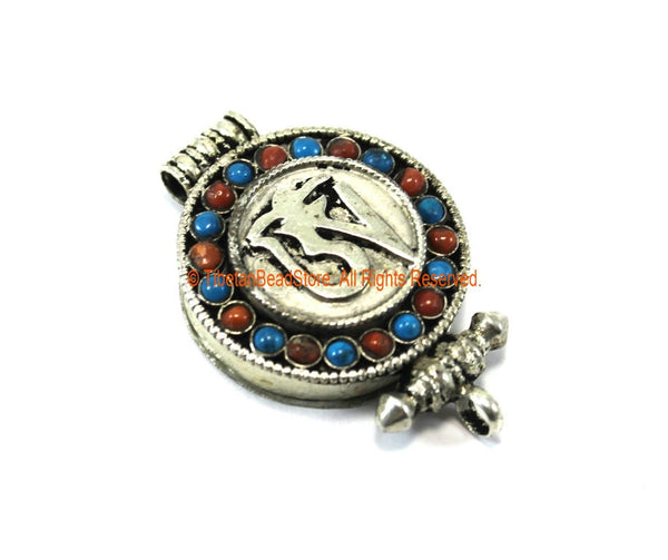"Tibetan ""OM"" Prayer Box Ghau Amulet Pendant with Turquoise & Coral Inlays - Ethnic Ghau Pendant - Om Aum Ohm - WM7272"