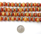 20 BEADS - 10mm Size Tibetan Amber Beads with Turquoise, Coral Inlay - Inlaid Amber Resin Tibetan Beads - LPB16-20