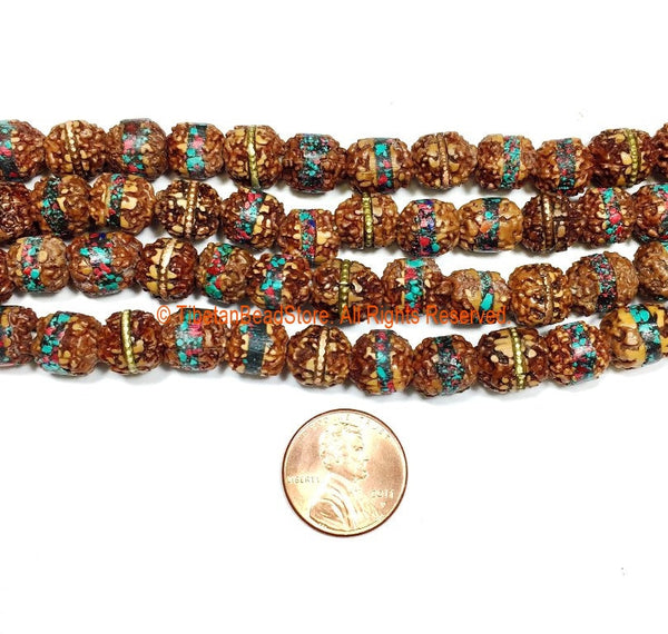 10 BEADS 9mm Rudraksha Beads with Turquoise, Coral & Metal Inlays - Ethnic Nepalese Rudraskha Beads - Shivas Tears - LPB150B-10
